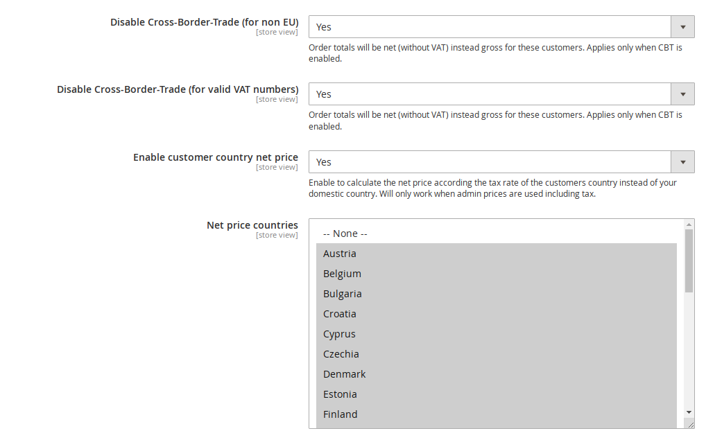 Cross Border Trade and threshold countries