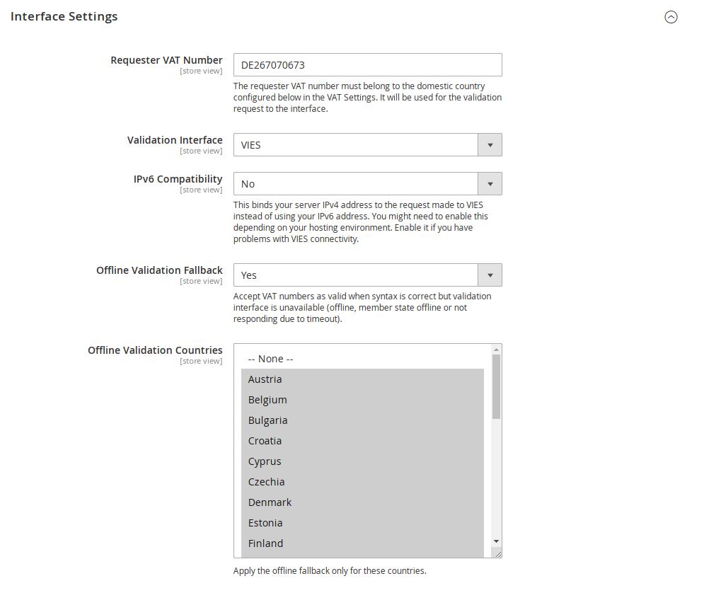 Interface & AJAX settings