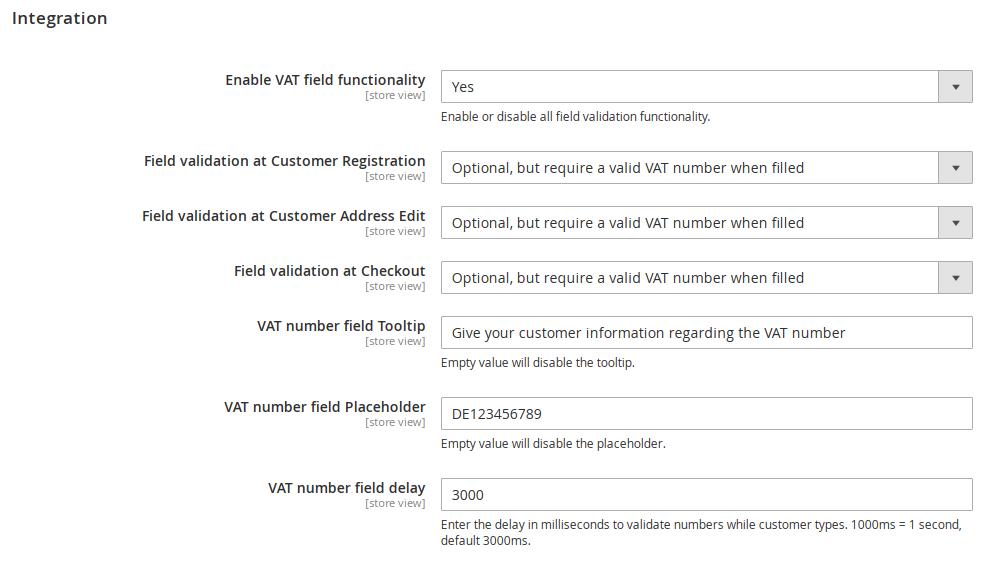 EU VAT Integration Settings