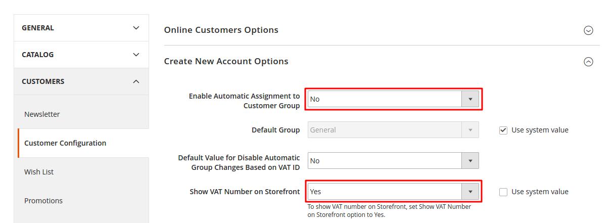 Customer configuration