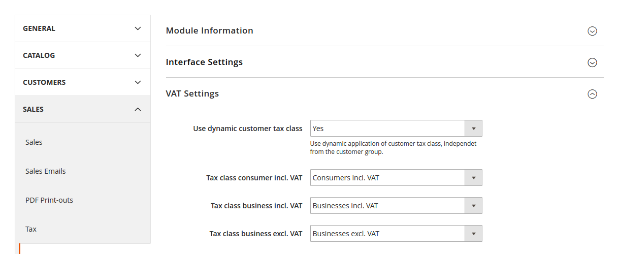 VAT settings