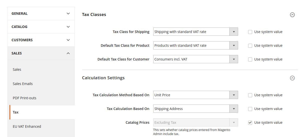 Tax configuration