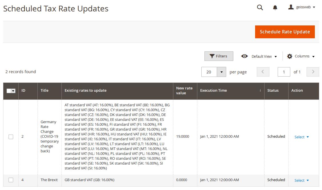 List scheduled updates